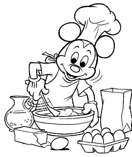 Mickey Is Cooking Coloring Page
